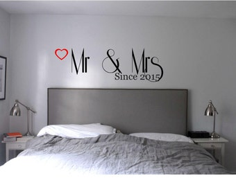 Mr & Mrs  Master Bedroom Wall Decal, Wall Vinyl