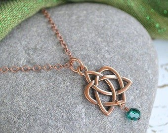 Eternal Heart Celtic Knot Copper Necklace with Emerald Swarovski drop
