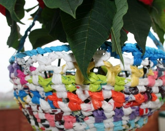 Hanging Basket made from Recycled Shopping Bags