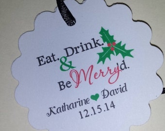 Christmas Wedding Favor Thank You Tag Scalloped Round PERSONALIZED  Holly