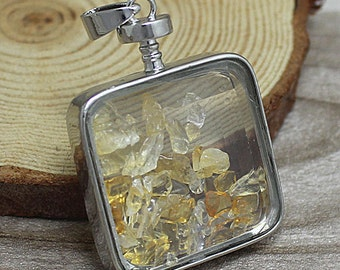 Natural Citrine Gemstone Pendant, Unique Square Glass Bottle Findings, Jewelry Making Supplies S7F5_05