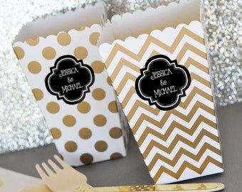 Black and Gold Bridal Shower Favor Boxes Black and Gold Birthday Party Decor Popcorn Boxes Candy Buffet Box Chevron 2| (EB4008P) 24 pcs