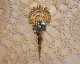 Vintage Art Deco Rhinestone Pin Necklace Brooch