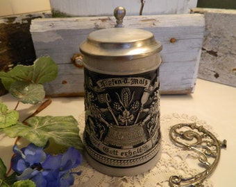Vintage Gerz West Germany Stein Blue and Gray Salt Glazed Relief Pewter Lid