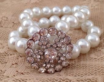 Rhinestone Double Strand Pearl Bracelet