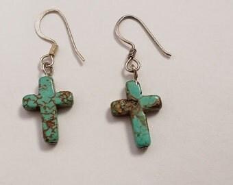 Stunning Sterling Silver CrossTurquoise Shaped Dangle Earrings