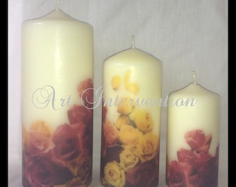 Vintage Style Autumn Rose Candles or CHOOSE OWN DESIGN