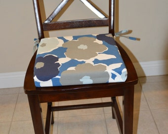 Navy Blue Sky Blue Floral Chair Cushion Cover. Washable Removable