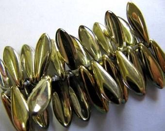 Dagger Bead Drops Czech Glass, New Colors, 5x16mm, 25 Piece, Crystal Amber Gold, Make Earrings, Necklace & Bracelets, Gorgeous Daggers #0003