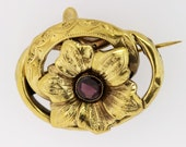 14K Gold Hollow Hand Engraved Flower Brooch with Garnet Center