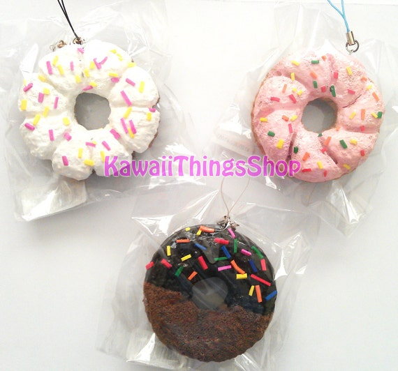 3 Homemade Donut Squishies by Kawaiithingsshop on Etsy