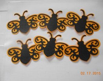 6 very cute bee die cuts