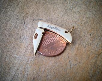 "Gold Mini Miniature Folding Pocket Knife Charm 5/8"" Steel Handle & Blade Vintage Style"