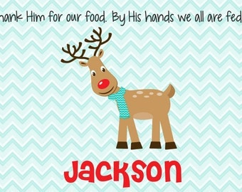 Personalized Placemat - Kids Placemat - Childrens Placemat - Prayer Placemat - Christmas Placemat - Kids Holiday Placemat - Reindeer Boy