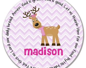 Personalized Melamine Plate - Personalized Kids Plate - Personalized Christmas Plate - Kids Holiday Plate - Reindeer Girl