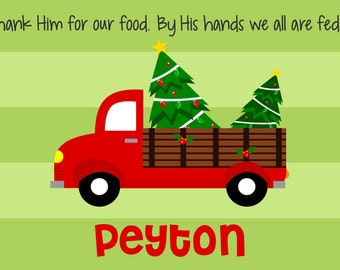 Personalized Placemat - Kids Placemat - Childrens Placemat - Prayer Placemat - Christmas Placemat - Kids Holiday Placemat - Red Truck