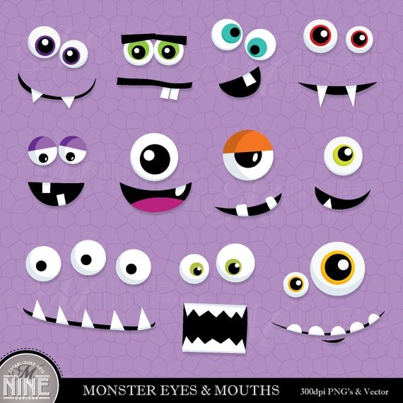 MONSTER EYES & MOUTHS Clip Art: Digital Clipart, Instant Download ...