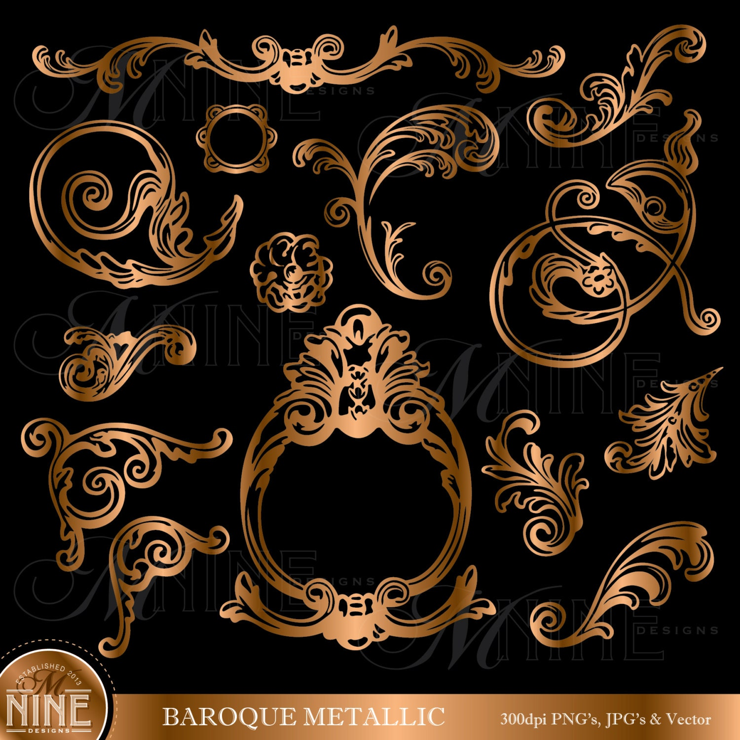 Bronze baroque design elements clipart instant download for Baroque design elements