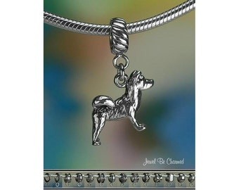 Sterling Silver Akita Charm or European Style Charm Bracelet Solid 925