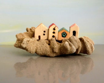 Miniature ceramic houses on natural beach stone , miniature ceramic rustic houses / dolls and houses item /  collectible ceramic houses