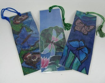 """Silk Art Bookmarks (set of 3) """"Colorful Wings"""""""
