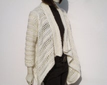 Creme Knit Cardigan, Woman Sweater, Hand Knitted Woman Sweater, White Sweaters, Women Wedding Sweater, Knit Woman Sweater, Bridal Sweater