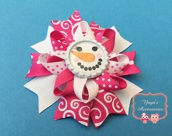 Christmas Bow, Snowgirl Hair Bow, Winter Hair Bow, Snowman Hair Bow, Christmas Hair Bow, Snnowman Bow, Snowgirl Bow, Christmas Bow