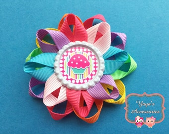 Cupcake Hair bow, Cupcake Bow, Cupcake Loopy Flower Bow