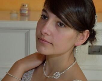 Bridal necklace beads swarovski crystals retro vintage Collier de mariée perles de verre