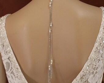 Necklace scarf tie wedding necklace , long necklace evening wedding jewelry back Sautoir écharpe à nouer collier long bijou de dos