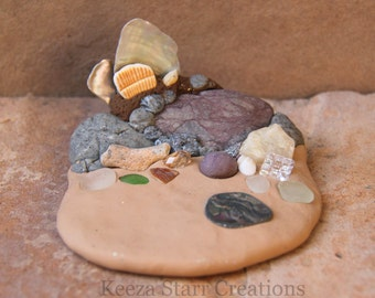 Ocean Sculpture Jewelry Display with Shells, Sea Glass, Cubic Zirconia, Crystals & River Rock