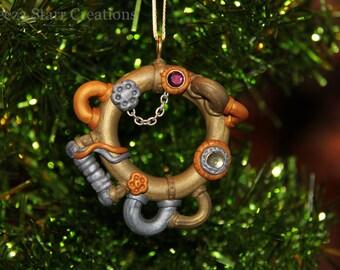 Antique Golden Steam Punk Holiday Wreath Ornament