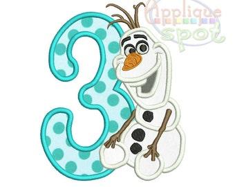 Olaf Frozen Snowman Third 3rd Birthday 3- 4x4 5x7 6x10 Applique Design Embroidery Machine -Instant Download File