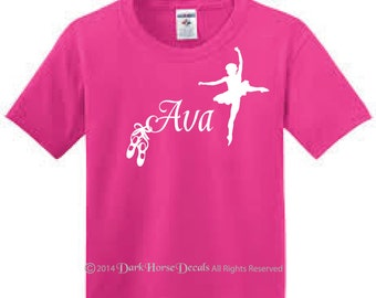 Ballerina with Slippers Personalized T-Shirt for Girl - Youth Ballerina with Slippers Tee with Name