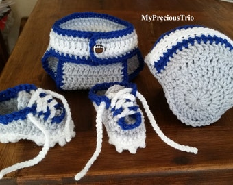 Crochet football helmet, cleats and diaper cover in your choice of colors