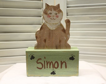 Cat Small Hand Painted Wood Block