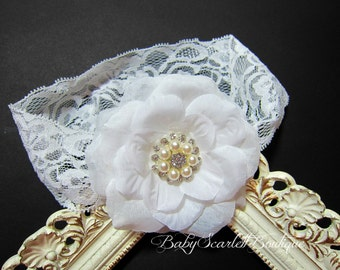 White Flower with Pearl and Rhinestones Headband,Baby Girl,Girl Headband