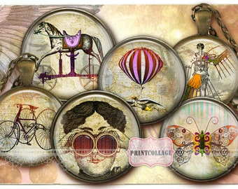 Digital Collage Sheet - Steampunk - Cabochon images 1.5 inch 18mm 14mm 1inch circle Printable images Instant download bottle caps C16