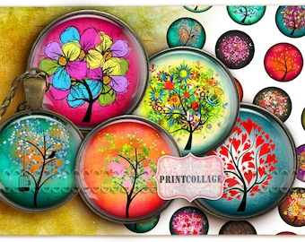 Colorful Tree images Digital Collage images 1.5 inch, 18 mm, 14 mm, 1 inch circle Printable images Instant download bottle caps c159
