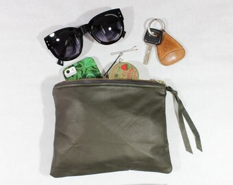 "Dark Olive Repurposed Leather Zipper Pouch / 8"" Everyday Pouch"