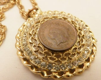 1907 Indian Head Penny Gold Color Rhinestone Necklace