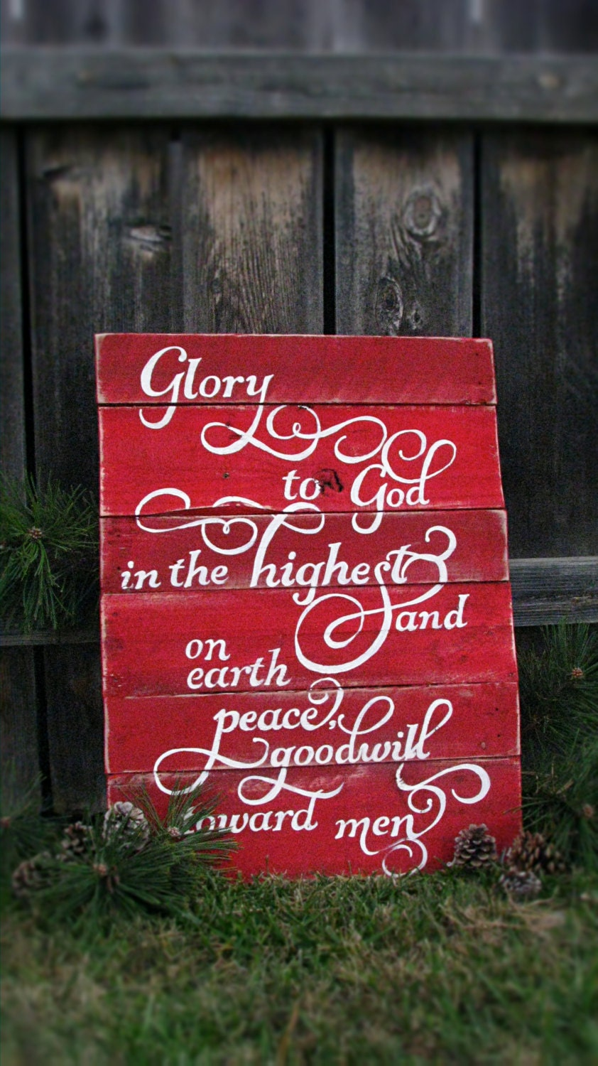 hand painted christmas pallet sign luke 2 14 red and white