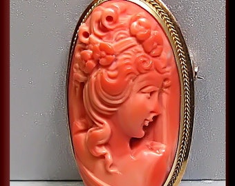 Antique Vintage 14K Yellow Gold Coral Cameo Brooch Pin - P 320M