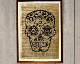 Mexican skull poster Tribal print South American decor WA323