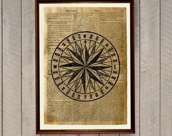 Vintage wall decor Mariners star print Nautical poster WA73