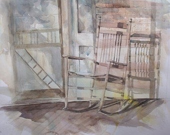 Watercolor Painting Front Porch Rocking Chair