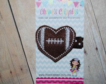 Football Hair Clippie - Felt Football Heart Clip - Football Hair Bow - Sports Hair Bow - Sports Hair Clip - Heart Football Clip
