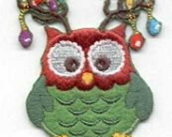 Super sweet little, OWL, WITH ORNAMENTS, Christmas Decor, Beautiful, Iron On patch, Cedar Creek Patch Shop