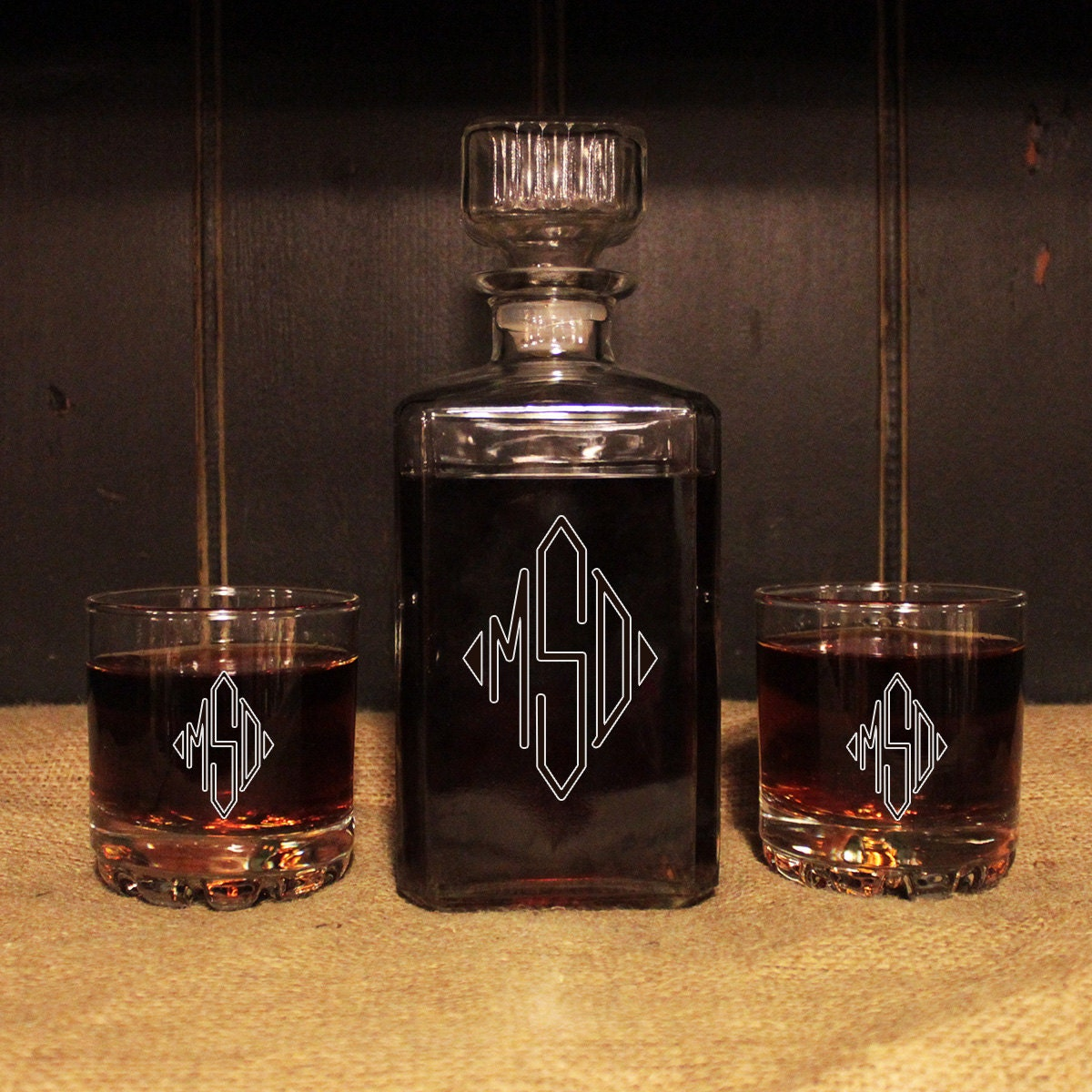 monogrammed glass whiskey decanter set barware personalized. Black Bedroom Furniture Sets. Home Design Ideas