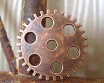 10 Steampunk Gear Embellishments Copper tone